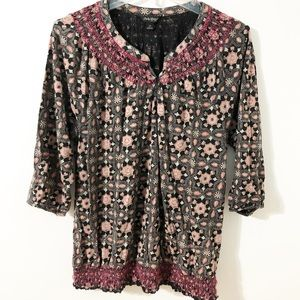 Lucky Brand Boho Patterned Top w Elastic  Smocking